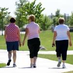 Women walking through a park