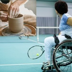 Two pictures together, one of hands on clay using a pottery wheel and the other a woman playing wheelchair tennis